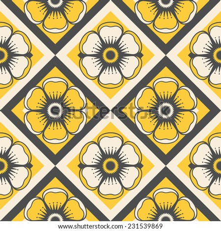 Geometrical pattern with flowers in yellow colors, seamless vector background. For fashion textile, cloth, backgrounds. - stock vector