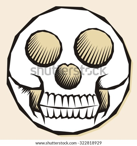 Geometrical skull symbol doodle number 3 - round shape or circle - stock vector