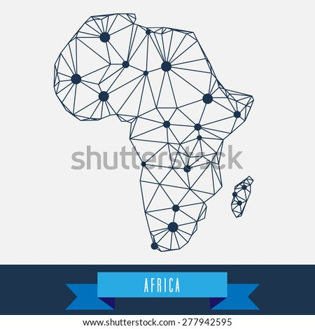 geometrical stylized africa map - stock vector