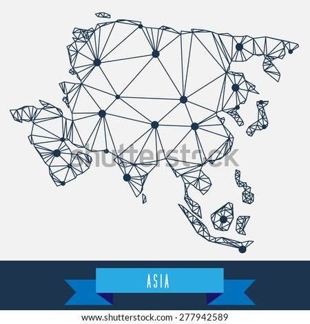 geometrical stylized asia map - stock vector