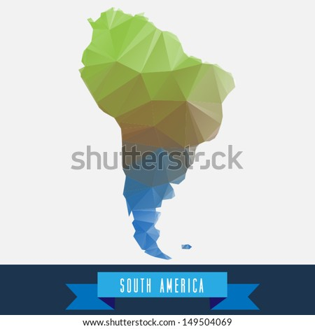 geometrical stylized south america map - stock vector