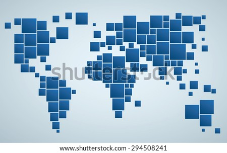 Geometrical stylized world map of world. Business background. - stock vector