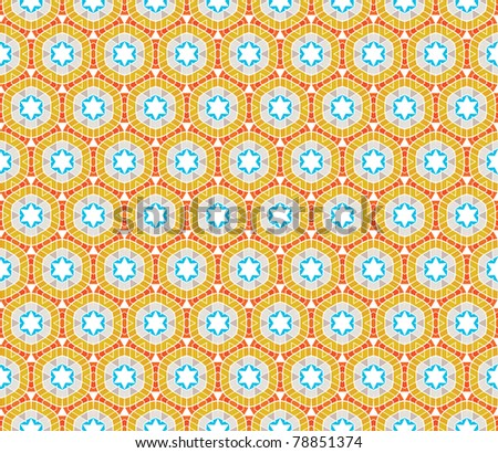 Geometrical vector pattern (seamless) with stars and circles in orange, blue, brown, yellow - stock vector