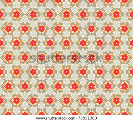 Geometrical vector pattern (seamless) with stars and flowers in orange, red, grey, green - stock vector