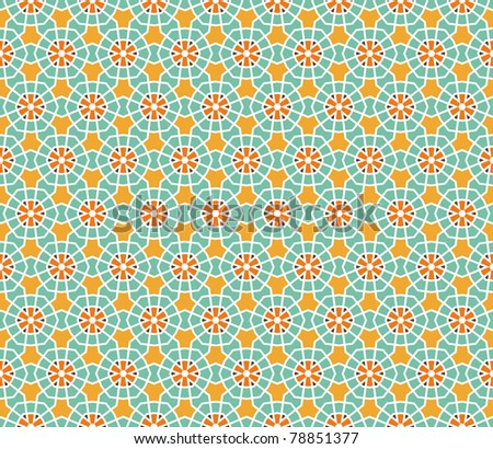 Geometrical vector pattern (seamless) with stars and flowers in orange, yellow, brown, green - stock vector