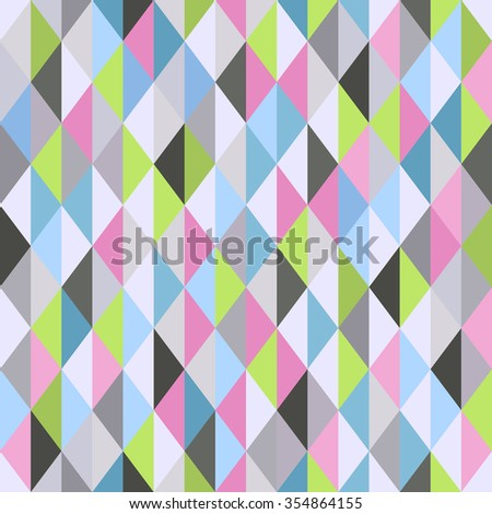 Geometrical vector seamless pattern with colorful triangles, trendy bright abstract background - stock vector