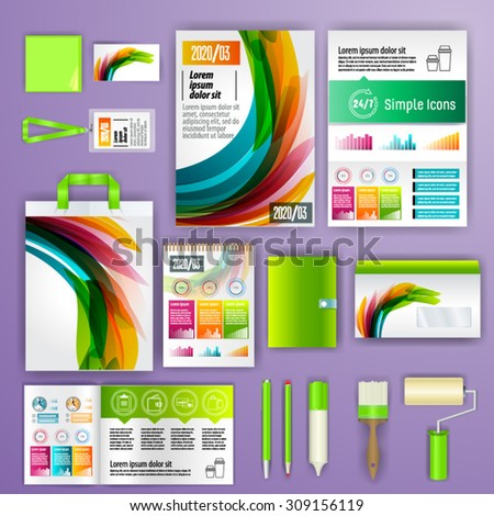 Geometry corporate identity template design with statistics and infographics. Cover layout. Business stationery. - stock vector