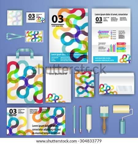 Geometry corporate identity template design with triangle shapes. Business stationery - stock vector