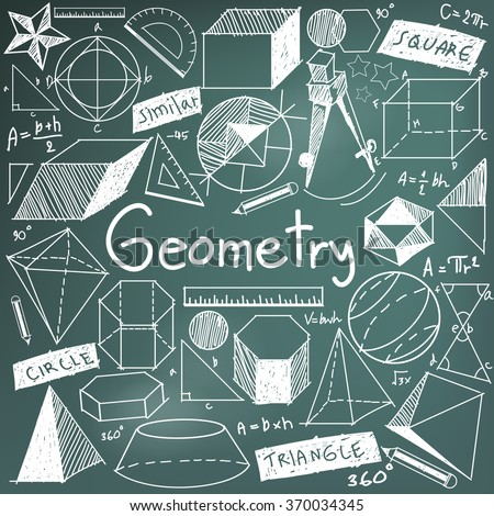 Geometry math theory and mathematical formula chalk doodle handwriting icon in blackboard background with hand drawn geometric model used for school education and document decoration, create by vector - stock vector