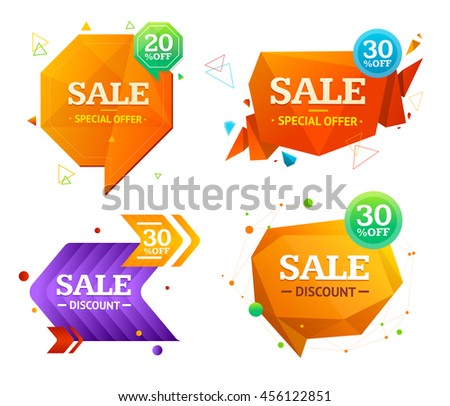 Geometry Origami and Speech Bubble Sale Label Set. Vector illustration