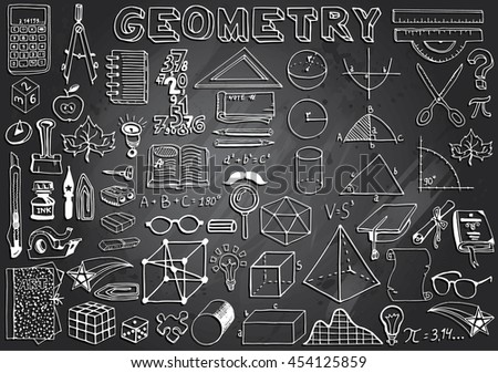 Geometry Science Doodle Hand Drawn Elements in Gray Chalkboard Background. Science and School Education theme. - stock vector