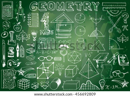 Geometry Science Doodle Hand Drawn Elements in Green Chalkboard Background. Science and School Education theme.