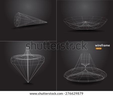 Geometry Wireframe mesh polygonal element. Vector Illustration EPS10 - stock vector