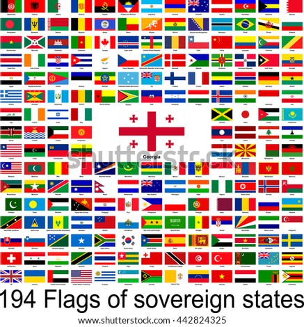 Georgia, collection of vector images of flags of the world