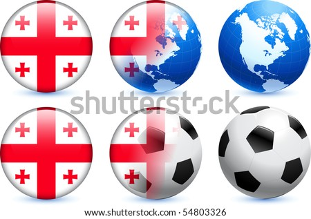 Georgia Flag Button with Global Soccer Event Original Illustration - stock vector