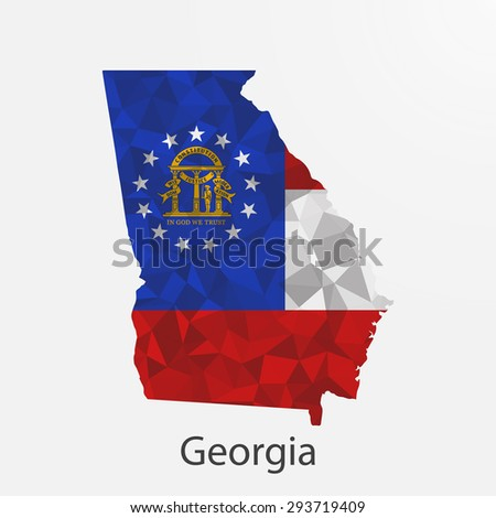 Georgia flag map in geometric,mosaic polygonal style.Abstract tessellation,background. Low poly vector illustration EPS10