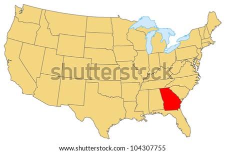 Georgia Locate Map - stock vector