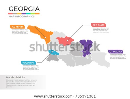East Timor Map Infographics Vector Template Stock Vector - Georgia map template