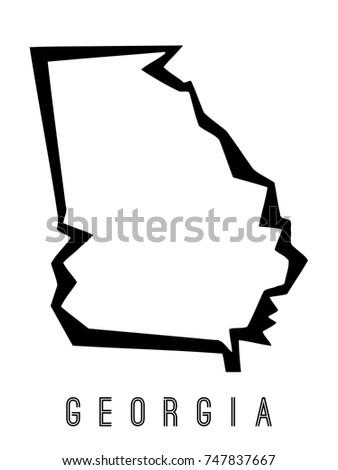 Georgia Map Outline Us State Shape Stock Vector - State of georgia map outline