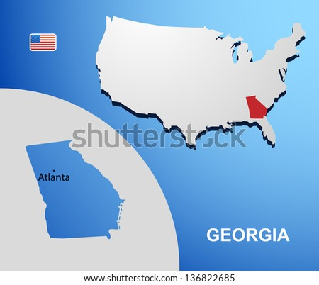 California On Usa Map Map State Stock Vector Shutterstock - Georgia on usa map