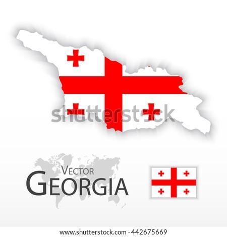 Georgia ( Republic of Georgia ) ( flag and map ) ( transportation and tourism concept ) - stock vector