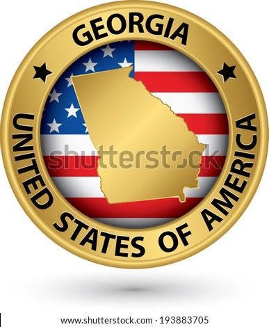 Texas State Gold Label State Map Stock Vector Shutterstock - Georgia map label