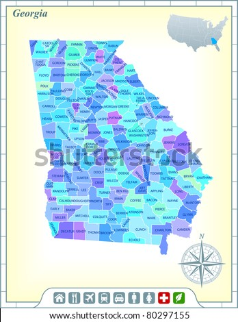 Georgia State Map with Community Assistance and Activates Icons Original Illustration - stock vector