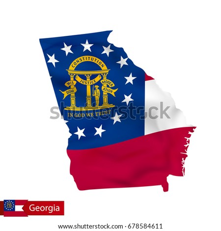 Shape D Georgia Map Flag Isolated Stock Illustration - Us state flag map