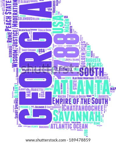 Georgia USA state map vector tag cloud illustration - stock vector
