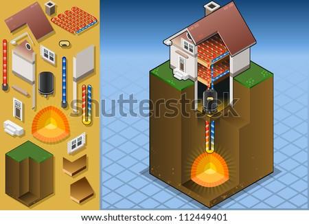 geothermal heat pump/underfloorheating with magma diagram - stock vector