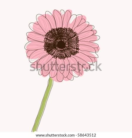 Gerbera Daisy flower, retro style vector - stock vector