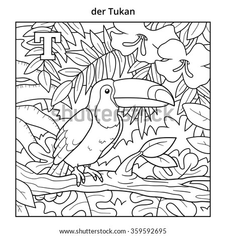 German alphabet, colorless illustration (letter T). Coloring book (toucan) - stock vector