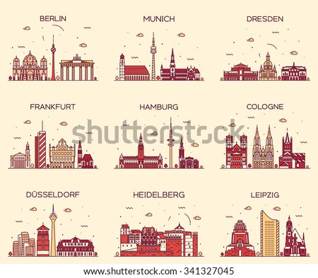 German cities. Berlin, Munich, Dresden, Frankfurt, Hamburg, Cologne, Dusseldorf, Heidelberg, Leipzig detailed silhouette. Trendy vector illustration, linear style - stock vector