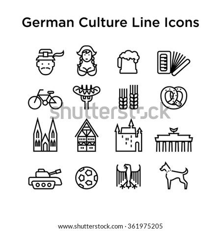 German Culture Icons, Culture Signs of Germany, Traditions of Germany, German Life, National Objects of Germany, Black Line Icons, Black Stroke Icons, German Culture Line Black Icons - stock vector