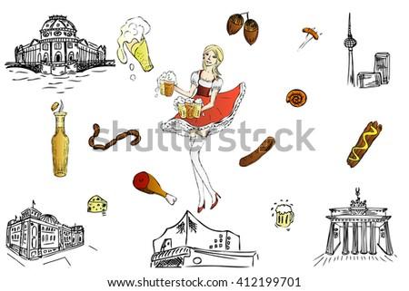 German cultures. Berlin sketch. Oktoberfest. Cute waitress with beer, the bartender in dirndl. Set Oktoberfest food - sausage,ham, wurst, beer, cheese. Famous Berlin building. Bavarian girl. - stock vector