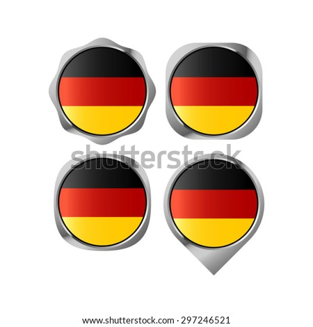 German flag button vector drawing