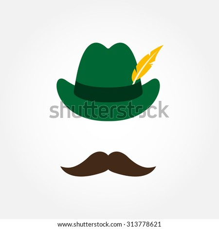 German hunting hat with feather and moustache. Octoberfest symbol isolated on white background. Colorful vector illustration.