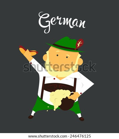 German man or character, cartoon, citizen of Germany in national clothing - stock vector