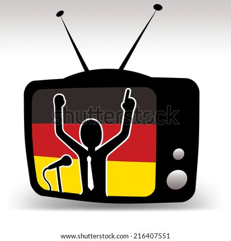 german politician on tv, man speaks on booth with germany flag in background  - stock vector