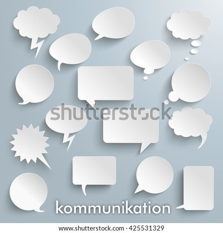 "German text ""Kommunikation"", translate ""Communication"" on the gray background. Eps 10 vector file. - stock vector"