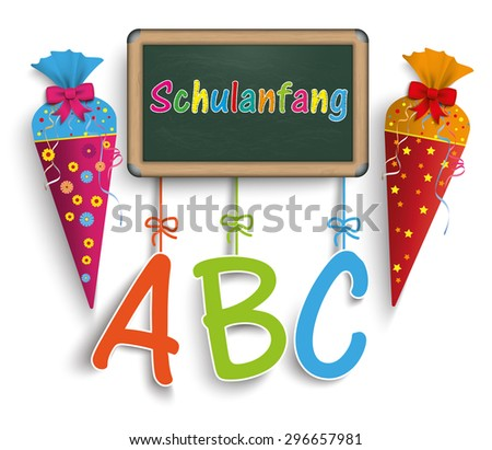 "German text ""schulanfang and ABC"", translate ""back to school and ABC"". Eps 10 vector file. - stock vector"