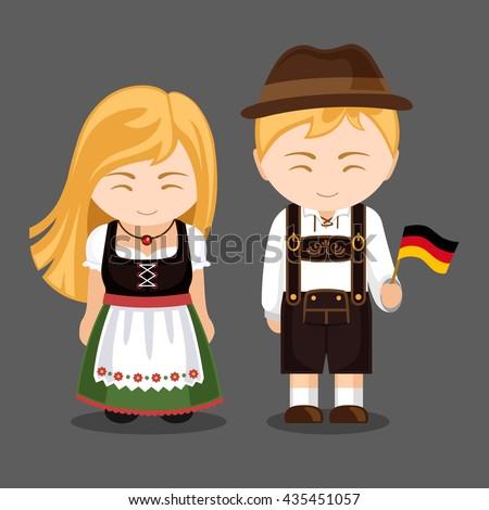 Germans National Dress Flag Man Woman Stock Vector