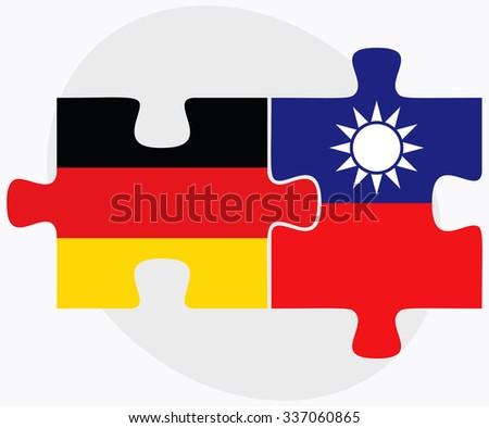 Germany and Taiwan Flags in puzzle isolated on white background - stock vector