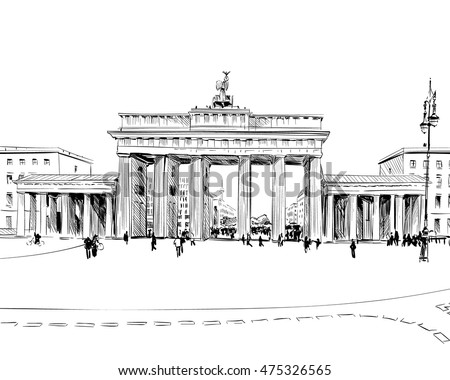 Germany. Berlin. Brandenburg Gate. Old building hand drawn sketch. Unusual perspective. City vector illustration