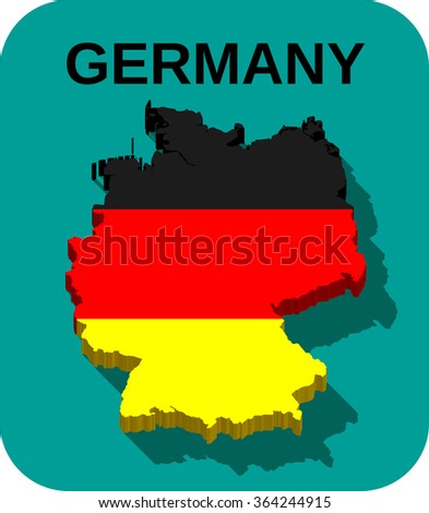 Germany -3D map and flag with long shadow effect