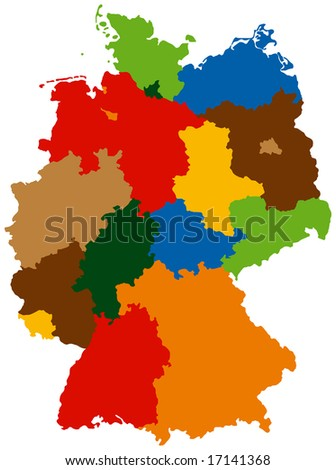 Germany divided into 16 states - stock vector