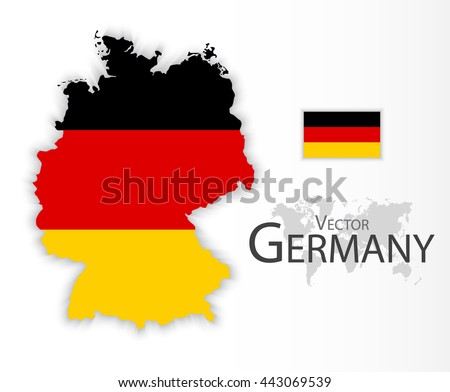 Germany ( Federal Republic of Germany ) ( flag and map ) ( transportation and tourism concept )