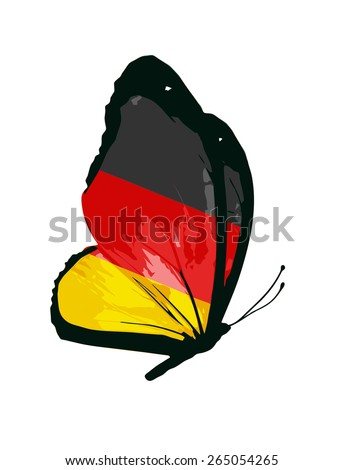 Germany flag butterfly - vector - stock vector