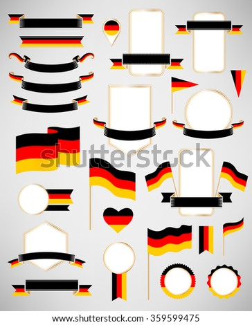 Germany flag decoration elements. Banners, labels, ribbons, icons, badges and other templates for design