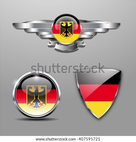 Germany Flag hat badge, shield and glossy button - stock vector